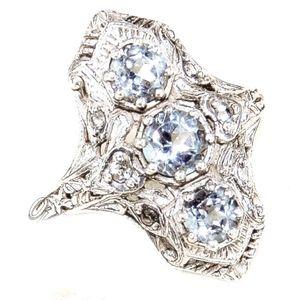 3 Stone Sky Blue Topaz Silver Filigree Ring 7.5